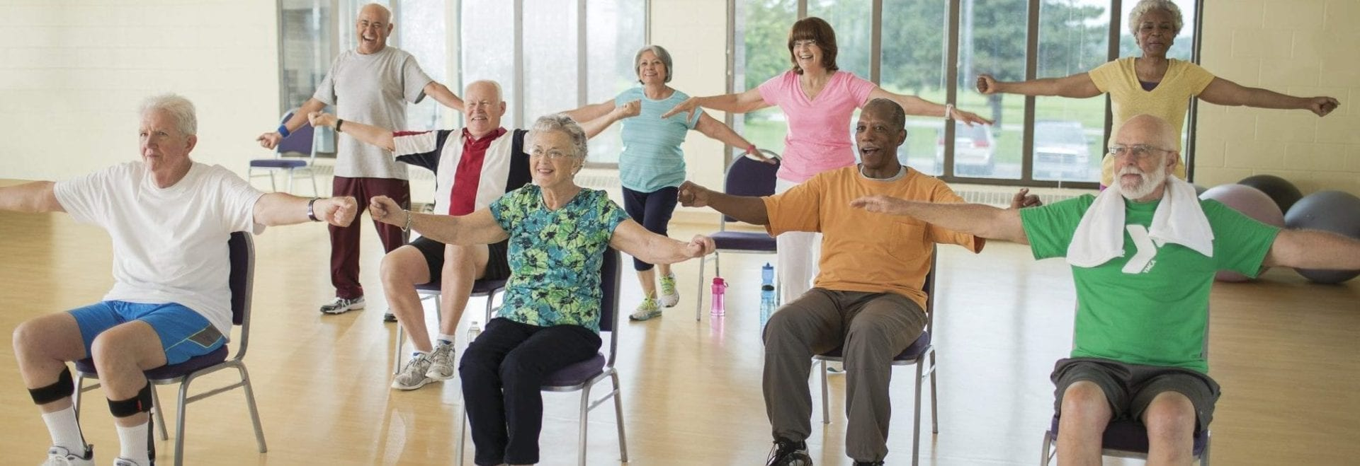 9 older adults working out